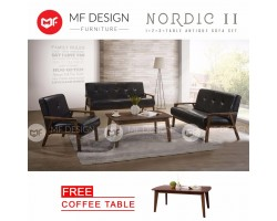 MF DESIGN NORDIC II 1+2+3 Seater +TABLE Wooden Arm ANTIQUE SOFA SET (PU DARK BROWN)