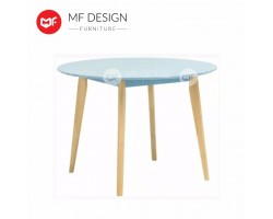 ADRIA 1.05 METER ROUND TABLE  - Dust Blue lacquered