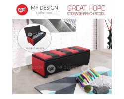 MF DESIGN GREAT HOPE STORAGE BENCH STOOL - RED+BLACK