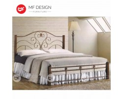 MF Design Kingdom Queen Size Metal Bed (Brown) (Iron) (Super Strong Base)