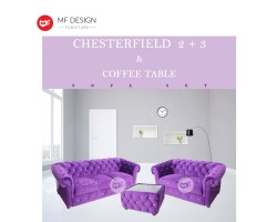MF DESIGN CHESTERFIELD 2+3 +COFFEE TABLE SOFA SET (MULTIPLE COLOUR TO CHOOSE FROM)