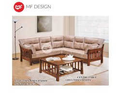 MF DESIGN VINCE L-SHAPE WOODEN SOFA WITH CUSHION + COFFEE TABLE