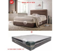 MF DESIGN HEBE(BROWN)(PVC) QUEEN SIZE BED FRAME + MATTRESS